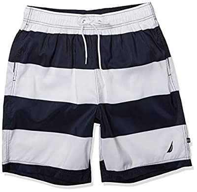 Nautica Men's Quick Dry Rugby Stripe Series Swim Trunk, Bright White, Large