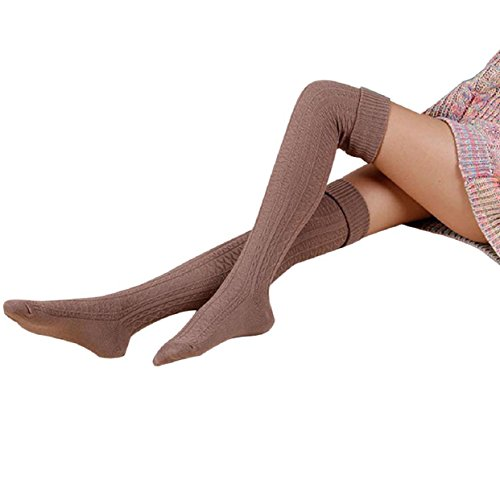 Malloom® Les Femmes Fille Hiver Sur La Jambe Du Genou Plus Chaud Tricot Doux Crochet Chaussette Legging (Kaki)