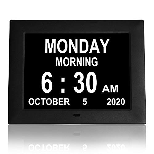 【Newest Version】 Digital Day Clocks 8 Alarms Auto-Dimming Extra Large Day and Date Calendar Dementia Clocks for Seniors Elderly Vision Impaired...