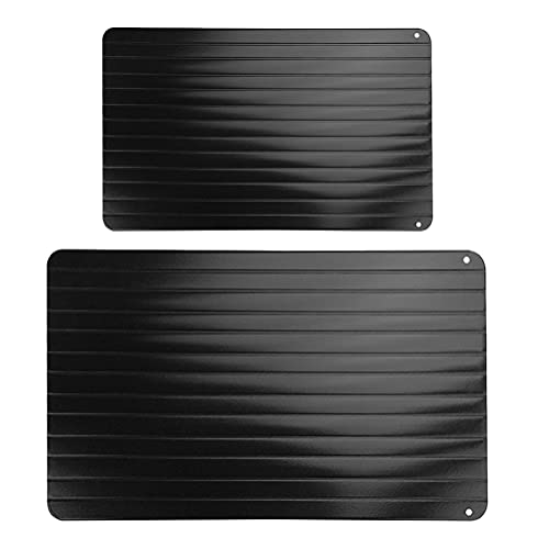 Cabilock Kitchen Accessories 2Pcs Fast Defrosting Trays Rapid Thawing Plates Home Defrosting Plates (Black) for Kitchen