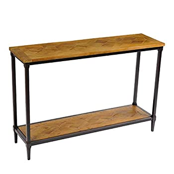 Solid Wood Farmhouse Console Table-Rustic Entryway Table - Hall Way Table with Storage - 2 Tier Industrial Foyer Tables - Reclaimed Wood with Splicing Pattern T-003