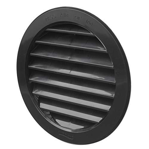La Ventilazione T12RN Griglia di Ventilazione Tonda in Plastica da Incasso, Nero, diametro 150 mm