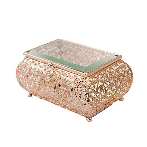 RNSUNH Caja de cristal transparente con tapa de terrario para joyas decorativas, pulsera de recuerdo y almacenamiento de joyas para niñas y mujeres