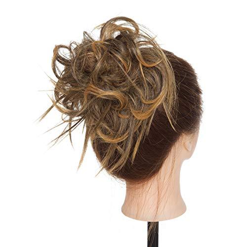 Extension Chignon Capelli Finti Messy Hair Bun Elastico Posticci Ricci Biondi Updo Ponytail Extensions Coda di Cavallo 45g, Marrone Castano mix Bioondo Dorato