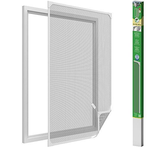 easy life Myggnät för fönster med magnetisk ram i PVC lätt att installera - Inget behov av att borra och klippa ut individuellt, nätet är svart och ramen är vit, storlek: 100 x 120 cm