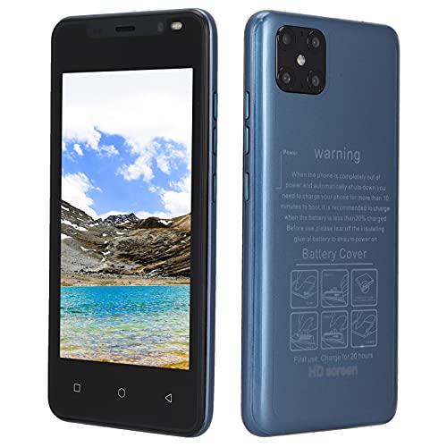 512MB + 4GB Smartphone, 4.66 Pulgadas HD Teléfono Móvil de Pantalla Grande MTK6572 CPU de Doble Núcleo Android 4.4.2 Teléfono Celular GSM4 Frecuencia Tarjeta Dual Teléfono Inteligente(Azul)