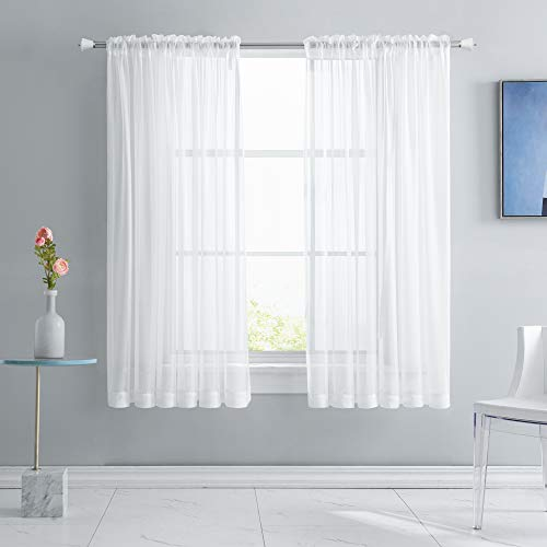 KEQIAOSUOCAI 2 Panels White Sheer Curtains 63 Inches Long Rod Pocket Light Weight Soft Sheer Voile Drapes Curtains for Basement Kitchen Bathroom Bedroom Living Room Each is 52W x 63L