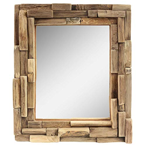 Oriental Galerie Dekorativer Spiegel mit Holzrahmen Mosaik aus Holzstücken Wandspiegel Thailand Massiv Holz-Spiegel Dekospiegel ca. 30 x 35 cm Nr. 13
