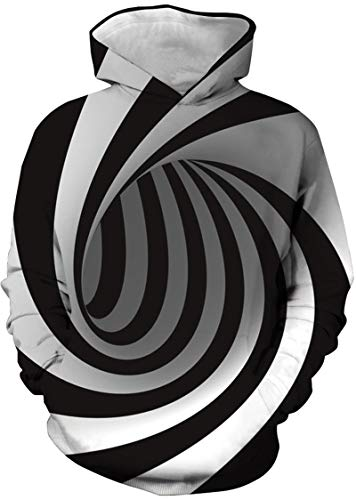 Nios Sudaderas con Capucha 3D Impreso Hoodies Sweatshirt Bolsillos de Mangas Largas (vrtice Negro,9-10 aos)