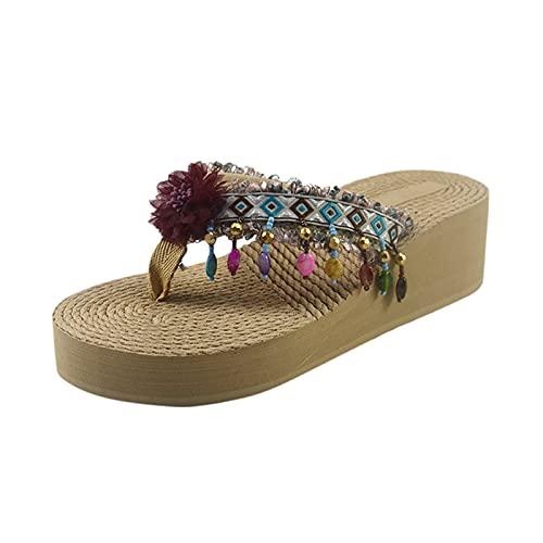 Sandali da donna estivi con zeppa, con fibbia a tinta unita, stile romana, sandali eleganti da donna, sandali di paglia con tacco alto, sandali da spiaggia (G3-Wine,37)
