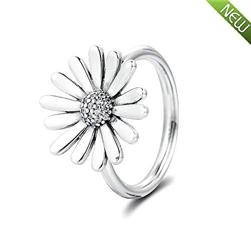 PANDOCCI 2020 Frühling Pave Gänseblümchen Blume Aussage Ringe für Frauen 925 Silber DIY Passend für Original Pandora Armbänder Charme Modeschmuck (56#)