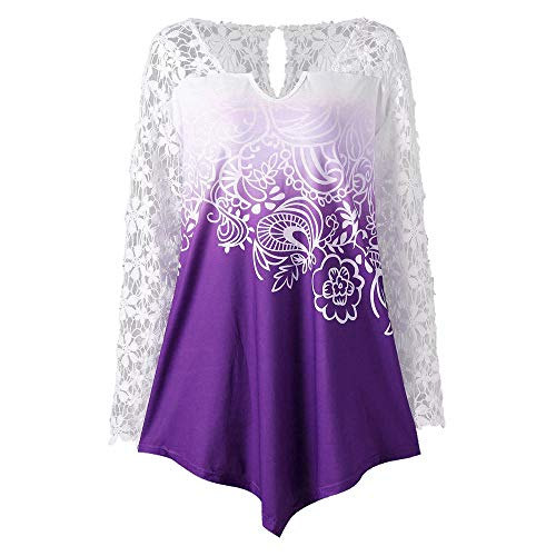 kaifongfu Female Lace FlowerStitching Color Gradient Top Long-Sleeved V-Neck(Purple,XL)