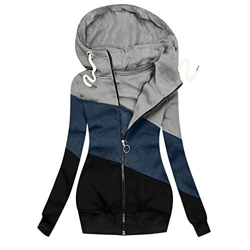 MRULIC Damen Kapuzenpullover Sportswear Outwear Langarm Warm Bequem Kapuzenjacke Herbst Winter Sweatshirt Mantel Jacke Tops Hoodie Sportswear Kapuze Sweatjacke(A-Grau,S)