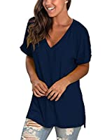 Womens Summer Casual Tops Short Sleeve V Neck T-Shirts Dark Blue S