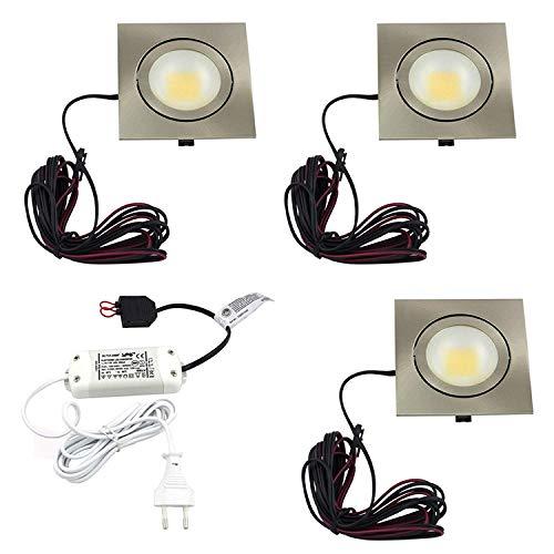 L&E® LED Einbaustrahler 3er Set - extra flach, Einbautiefe 20 mm - schwenkbar - 3 Strahler je 3 Watt - Metallgehäuse Edelstahloptik gebürstet - Lichtfarbe: Warmweiß - Quadratische Deckeneinbauleuchte