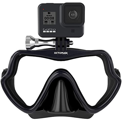 diving mask for go pros OCTOMASK - Frameless Dive Mask w/Mount for All GoPro Hero Cameras for Scuba Diving, Snorkeling, Freediving