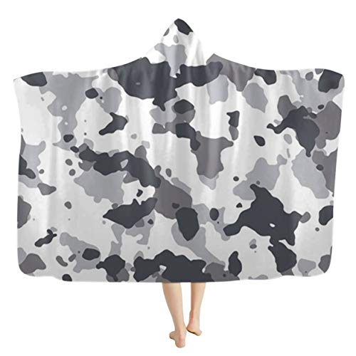 Camouflage Lazy Blanket 3D Navy Air Force Camouflage Printed Super Soft Fleece Hooded Blanket for Boys Girls,D,110 * 150cm