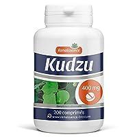 Kudzu 200 comprimés dosés à 400mg Pueraria montana 1 comprimé par jour avec un grand verre d'eau avant le repas et dans le cadre d'une alimentation équilibrée.