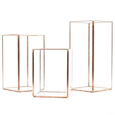 Koyal Wholesale Geometric Hurricane Candle Holder Set of 3 Wedding Centerpiece, Table Decorations, Home Decor, Patio Decor (Copper)