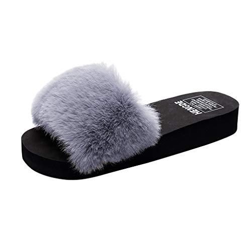 KERULA Damen Hausschuhe Flache Fluff Indoor Badeschuhe Home Badelatschen rutschfest Slippers Pantoffeln Gartenschuhe Schlappen Slide Sandal Sandalen