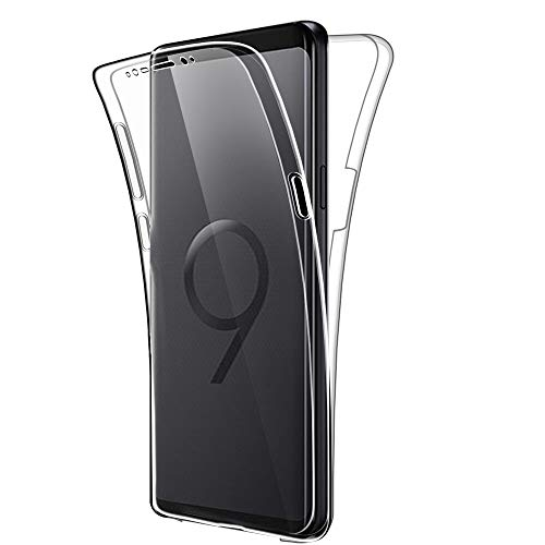 SDTEK Custodia per Samsung Galaxy S9 Protezione a 360° Custodia Full Body Cover Case Bumper Caso Trasparente Clear Silicone Gel per Samsung Galaxy S9