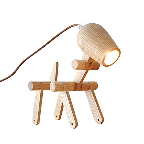 Simple Creative Mode Personnalité En Bois Bureau Lampe, Solide Bois Étude Chambre Chevet Lampe Flexible Enfants Chiot Lampe de Table, E27