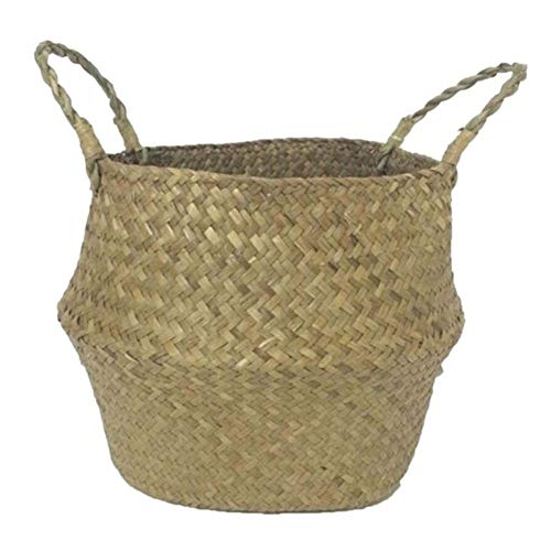 Bloem van het glas Vazen 1Pc Folding Zeegras Wasmand Rattan Flower Basket Vase voor Verjaardag Wedding (Color : Light Yellow, Sheet Size : L)