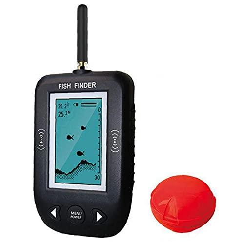 EElabper Localizador del Detector de Peces portátil inalámbrico LCD Peces de Profundidad del Sensor de Alarma de ultrasonido de Alta definición Inteligente para Todo Tipo de Pesca Negro
