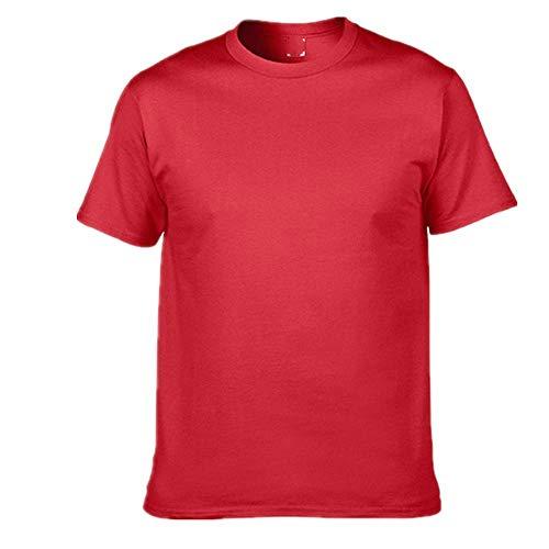 Katoen Heren T-Shirt O-hals Pure Kleur Korte Mouw Mannen T Shirt Man T-Shirts voor Mannelijke - rood - XXL