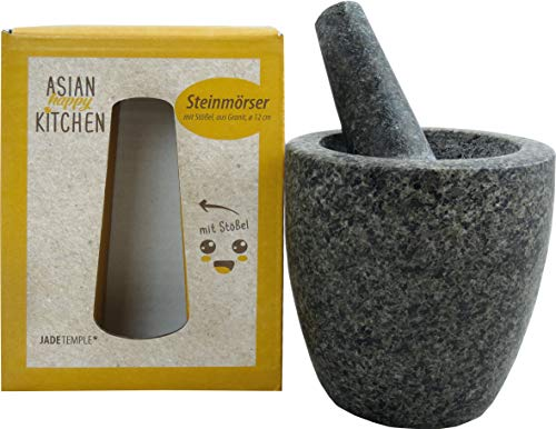 JADE TEMPLE Steinmörser mit Stößel im Set, effektives und einfaches mörsern, aus massivem Granit mit 12 cm Durchmesser und 12 cm Höhe