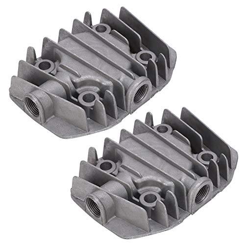 2 Piezas de Culata de compresor de Aire, pequeña Cubierta de Cilindro de compresor de Aire de refrigeración de Aluminio 2,5 / 3P, Repuesto de Culata neumática de Aluminio Fundido de 48 mm x 62 mm