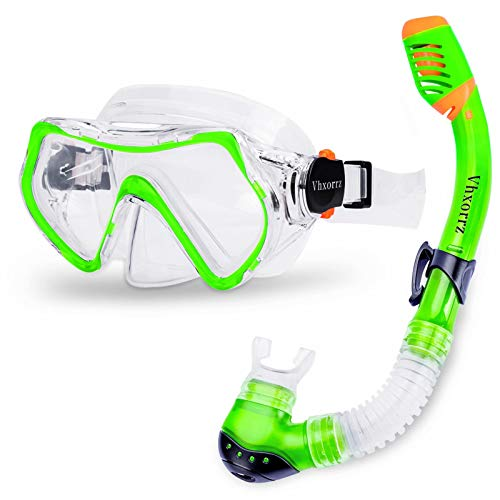 Vhxorrz Kids Snorkel Set, Dry Top Snorkel Mask Anti-Leak Anti-Fog Snorkeling Gear Free Breathing,Tempered Glass Swimming Diving Scuba Goggles for Children, Boys,Girls Age from 5-15 Years Old