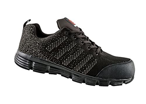 Avacore Zapatos de trabajo transpirables LUMO S1P, zapatos de seguridad para hombre, con doble aislamiento contra el frío, protección EN20347, negro y gris, 45 EU Weit