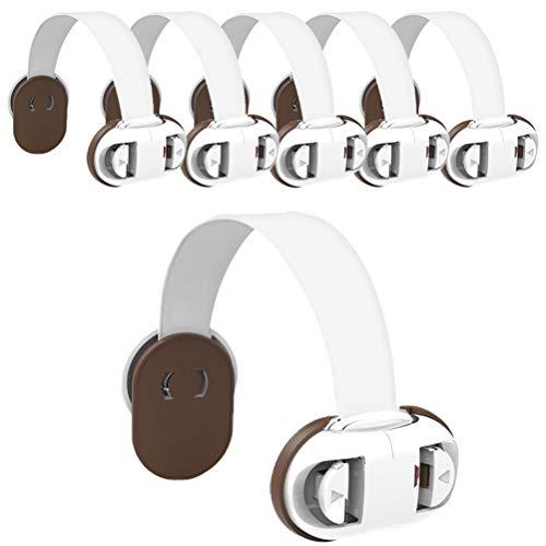 Kinnter kinderveiligheidsgordel sloten voor koelkast, baby-proof klemslot, 3M-lijm zonder boren, kleine kind, veiligheidsslot voor kast, vuilniskast, commode, 6 pak, bruin/groen/rood