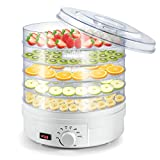 Deshidratador de Frutas Eléctrico Sunix, Termostato Ajustable para Encimera Portátil, Blanco, Libre de BPA, 5 bandejas, para Jerky, frutas, verduras y más