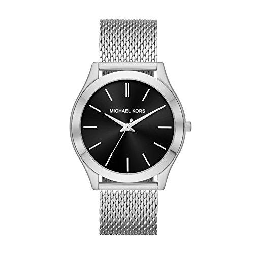 Michael Kors Men's Slim Runway Analog-Quartz Watch with Stainless-Steel Strap, Silver, 22...