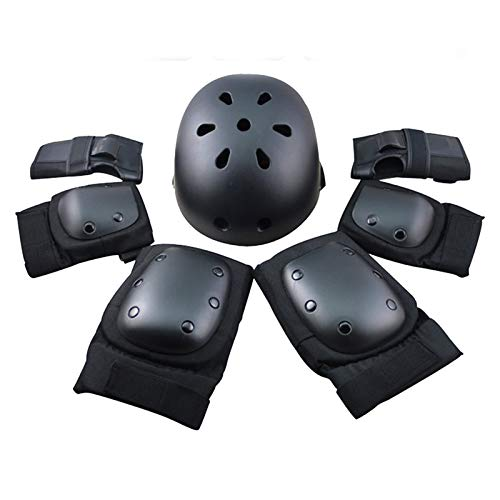 Sport-Sicherheits-Schutzausrüstungs-Set für Kinder verstellbar Ellenbogen Handgelenk Knieschützer, Helm für Kinder, Teenager, Roller Skateboard Skaten Radfahren Reiten Blading Hoverboard Schwarz L