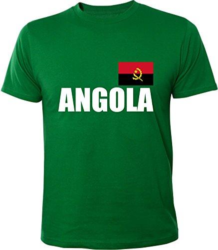 Mister Merchandise Witziges Herren Männer T-Shirt Fahne Flag Angola, Größe: XXL, Farbe: Grün