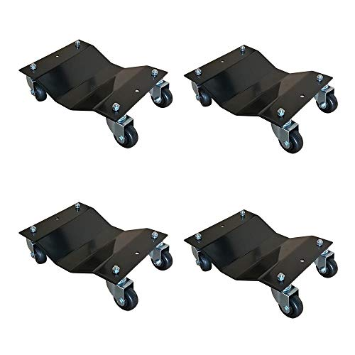 MTB 4 Pack Black 12x16 Inch Heavy Duty Wheel Dolly Car Tire Stakes Set 6800lbs Total Capacity for Tow or Vehicle Storage Furniture Movers