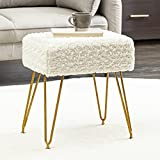 Modern Mink Square Footstool Ottoman Bench, Flower Pattern Furry Faux Fur Vanity Stool Chair with Gold Legs, Comfy Entryway Ottoman Bench, Stool for Vanity, Plush Footrest for Bedroom, Living Room
