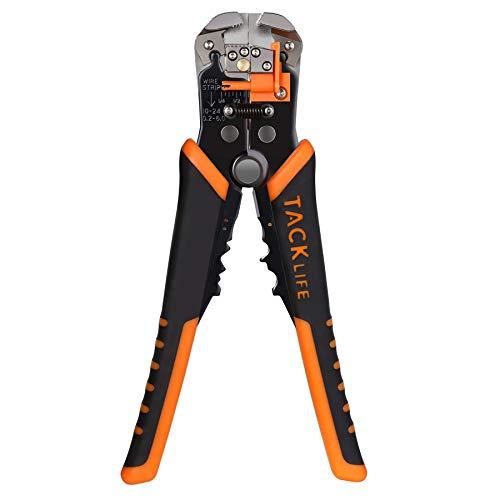 Tacklife Pince à Dénuder MWS02 Dénudeur de Fils Automatique, avec Reglage de Précision Cables AWG 22-10 (0,2~6.0mm²), Outils à Dénuder/Cutter Auto-réglable et Sertir