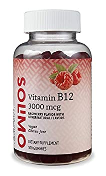 Amazon Brand - Solimo Vitamin B12 3000 mcg - Normal Energy Production and Metabolism Immune System Support* - 100 Gummies  2 Gummies per serving