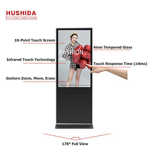 Best Bargain 65inch Interactive Floorstanding Digital Signage Kiosk, 1080p 10 Point Infrared Touch S...