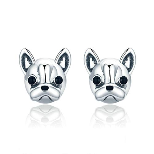 Ear Studs French Bulldog Dog S925 Silver Earrings for Ceremony