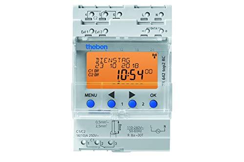 Theben 6420100 TR642 top2 - digitale 2-Kanal Zeitschaltuhr mit Jahres- und Astro-Programm, sowie 2 externen Eingängen, Zeitschalter