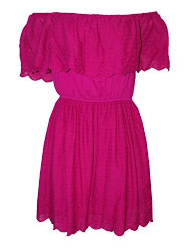 Buffalo David Bitton Arella Embroidered Ruffle Off The Shoulder Dress, Pink