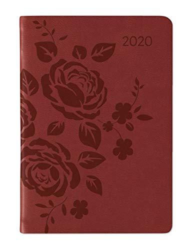 Ladytimer Mini Deluxe Red 2020 - Taschenplaner - Taschenkalender (8 x 11,5) - Tucson Einband - Motivprägung Rosen - Weekly - 144 Seiten