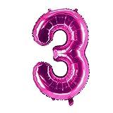 Party Factory XXL Folienballon Zahl 3, Luftballon 100cm, pink, Geburtstag, Abi, Jubiläum, Party Ballon, Heliumballon, Deko