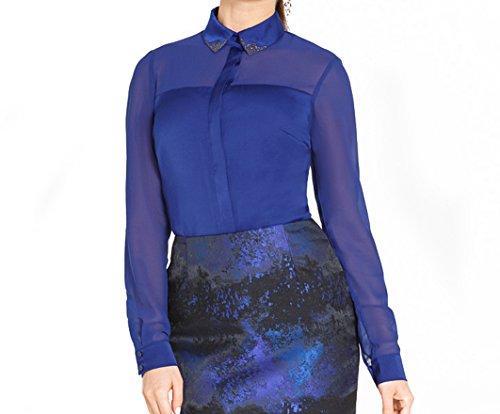 Bestia damesblouse, model Leap, blouse met lange mouwen, blauw, maat XL