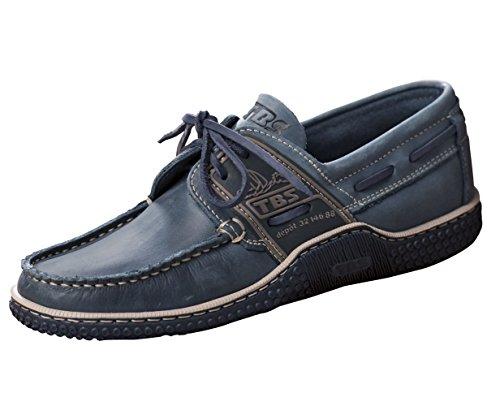 TBS Herren Deckschuh Globek Leder Bootsschuh Farbe blau, Größe H: 42